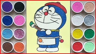 Đồ chơi trẻ em, TÔ MÀU TRANH CÁT DORAEMON LÀM HỌA SĨ - Sand painting Doraemon toys (Chim Xinh)