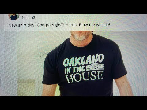 "Chad Hurley, YouTube Founder, Sports ""Oakland In The House"" T-Shirt On Biden Harris Inauguration Day"