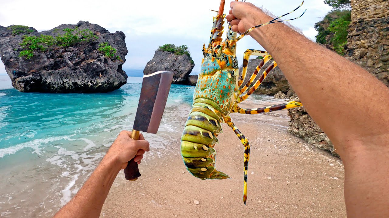 Solo Survival LOBSTER Catch n Cook (No Water, No Food)