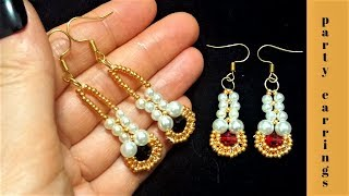 Party earrings. How to make earrings. Beaded earrings