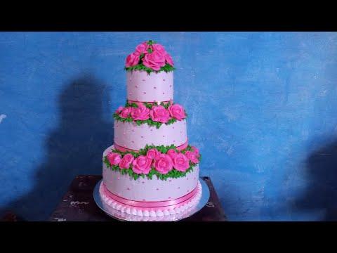 Belajar Menghias Kue Pengantin 3 Tingkat Pink Mudah | Wedding Cake Trhee Levels Pink Roses