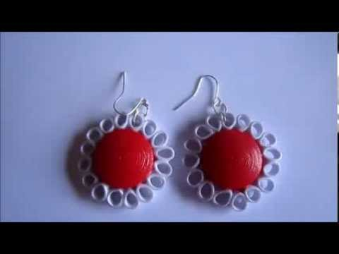 Handmade Jewelry Paper Quilling Dome Flower Earrings Free Form Not Tutorial You