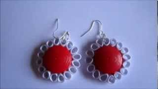 Handmade Jewelry - Paper Quilling Dome Flower Earrings (Free Form Quilling) Not Tutorial