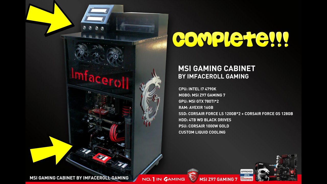 Custom Liquid Cooled Gaming PC Modification Within A Cabinet COMPLETE    YouTube Awesome Ideas