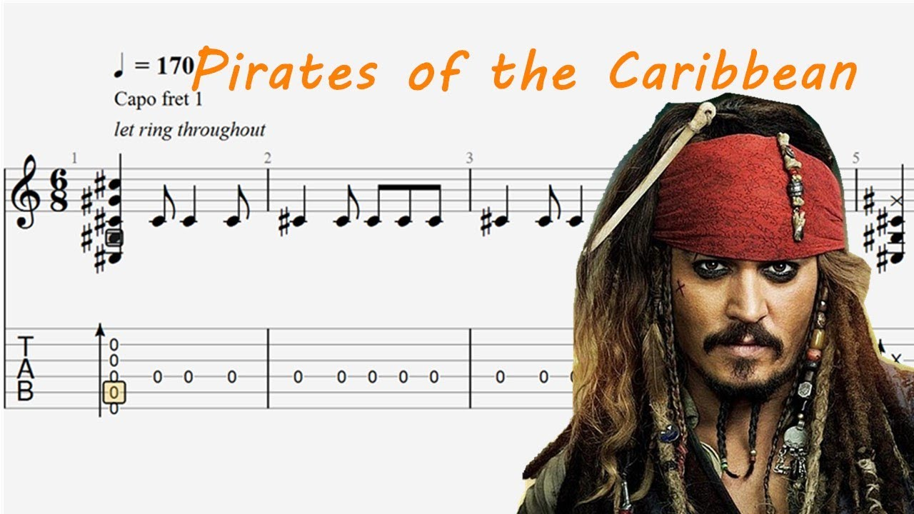 Pirates of the Caribbean Theme He's a pirate  Guitar Tab Fingerstyle Guitar Tutorial(FREE TAB)