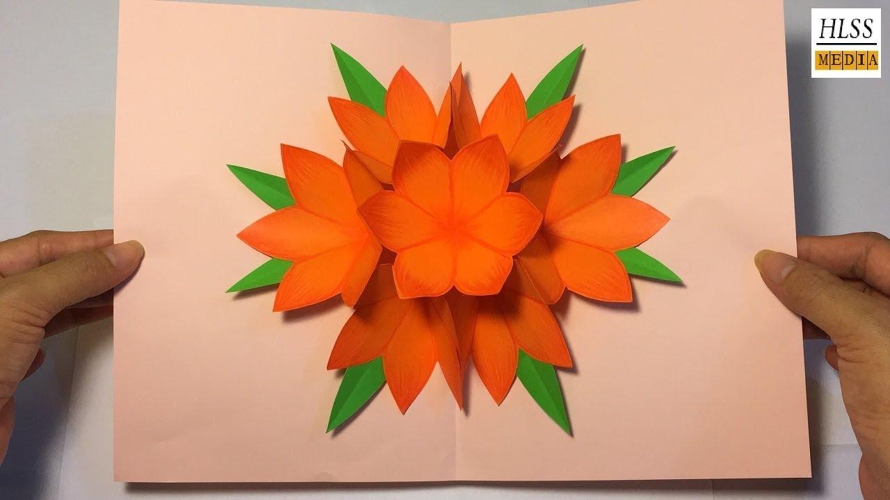 Making 3d Flower Pop Up Card Easy Pop Up Card Tutorial 3d Paper