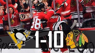 Blackhawks vs Penguins | 10-1 | Highlights (Oct. 5, 2017) [HD]