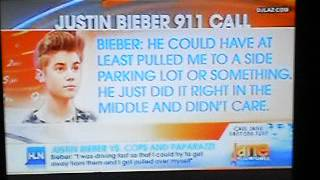 Justin Bieber calls 911 due to paparazzi on July 6, 2012 (HLN).
