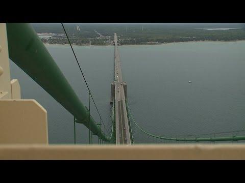 Climbing To Top Of Mackinac Bridge
