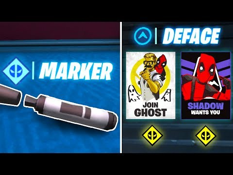 Find Deadpool's Big Black Marker , Deface GHOST Or SHADOW Posters (Deadpool Fortnite)