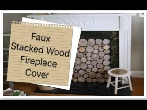 Faux Stacked Wood Fireplace Cover