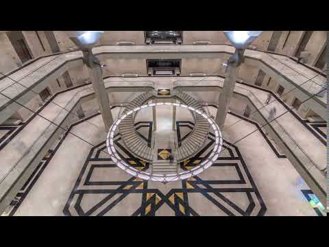 Inside view of the iconic Museum of Islamic Art building timelapse