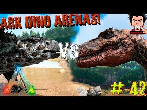 ARK Survival Evolved Albertosaurus VS Gastonia Batalla Dinosaurios arena gameplay español