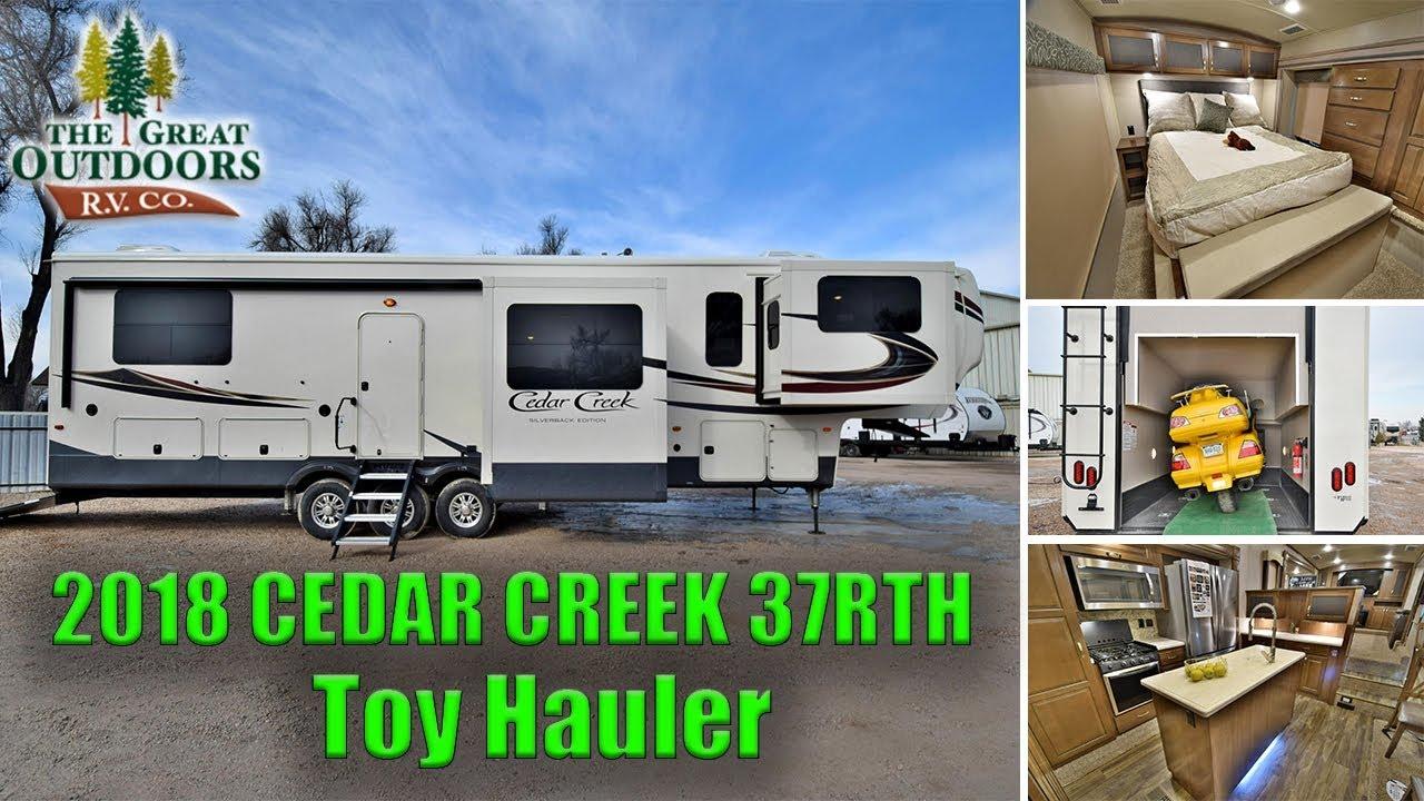 New luxury toy hauler 2018 cedar creek 37rth rear garage front new luxury toy hauler 2018 cedar creek 37rth rear garage front living room fifth wheel colorado sciox Gallery