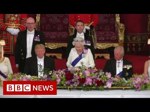 the Queen making a speech to welcome the US president - BBC News