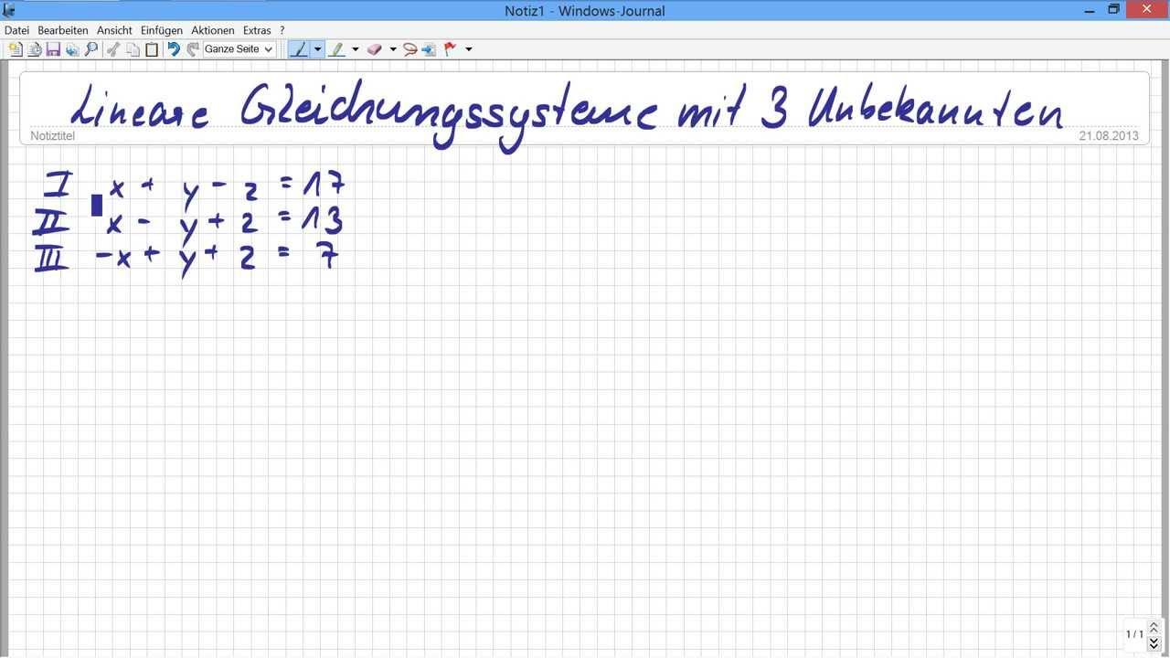 Fantastisch Lösen Von Gleichungssystemen Mit 3 Variablen ...