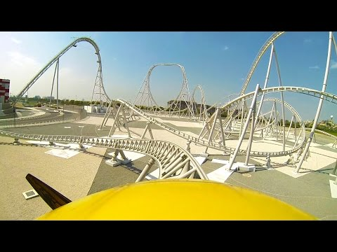 Flying Aces Roller Coaster Front Seat POV Ferrari World Abu Dhabi UAE