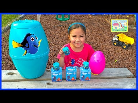 Thumbnail: HUGE FINDING DORY SURPRISE EGGS + Playing with Bubbles + Disney Finding Dory Surprise Toys Boxes!