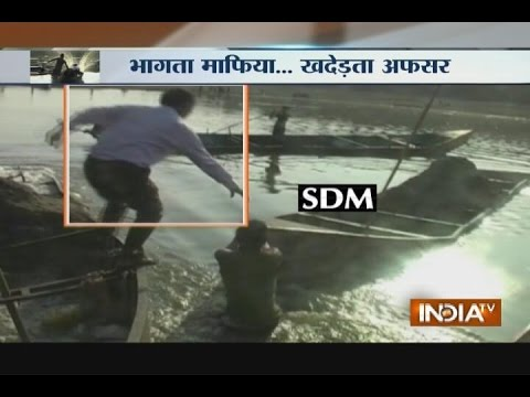 Video: SDM Jumps into a River While Stopping Sand Mafia from illegal Mining