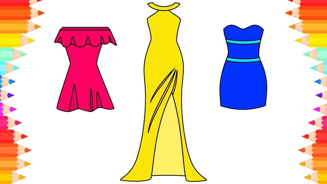 How to Draw Dresses for Girls. Kids Coloring Pages. Art for Kids. Step by  Step Drawing for Children
