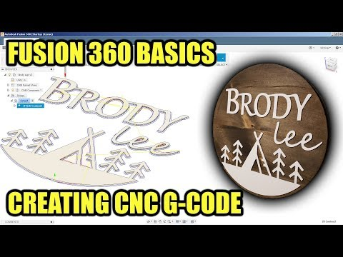 Fusion 360 Basics - Creating CNC G-Code with 2D Contours (Wall Art / Wooden Sign)