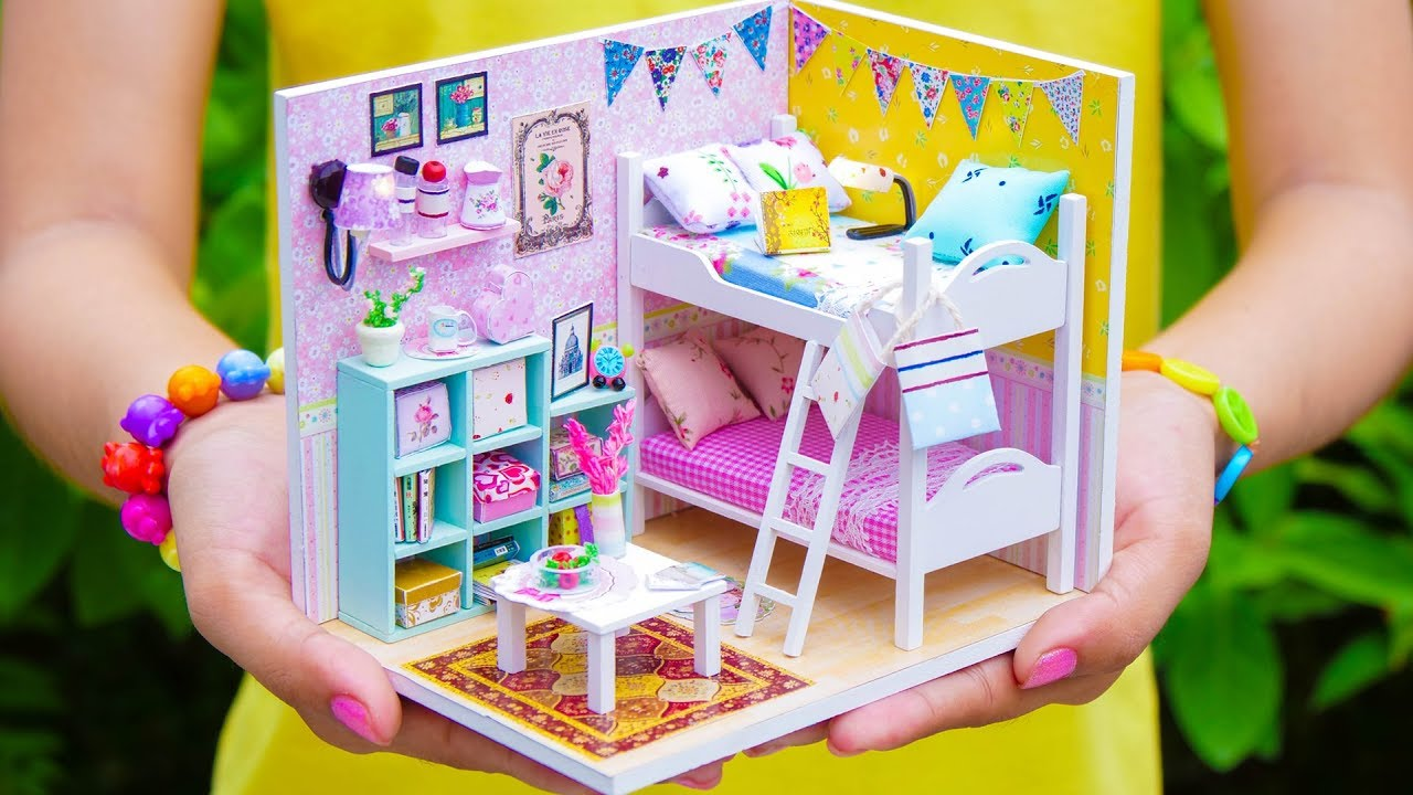 Diy Miniature Doll House Bunk Bed Bedroom New Youtube