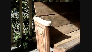 Antique Art Deco Sun - Theater Seat Cast Iron (circa 1920) & Upcycled Wood Garden Bench