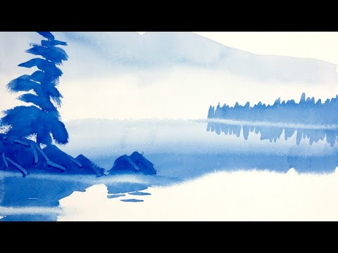 Super easy watercolor landscape lesson for beginners – painting water reflections.