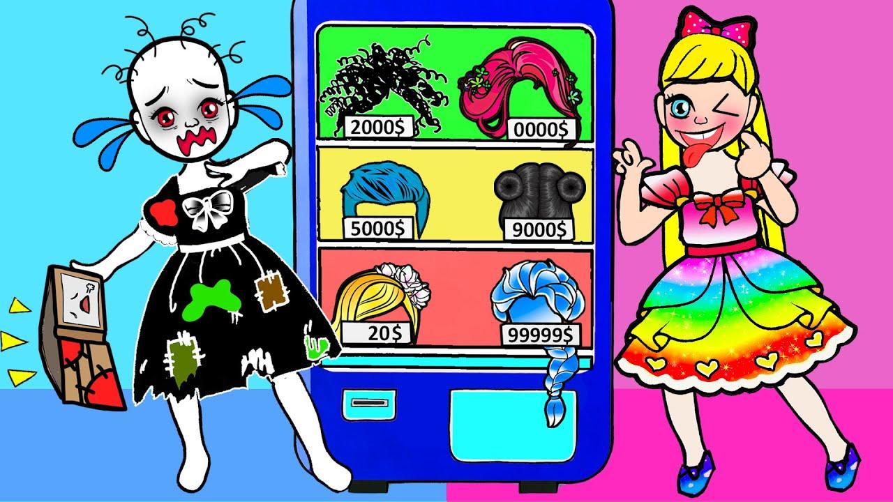 Paper Dolls Dress Up - Rich vs Poor Rapunzel and Sadako Dress -  Barbie Story & Crafts