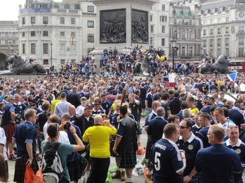 Walking amongst the Scottish Tartan Army football fans in Trafalgar Square, London 14th August 2013