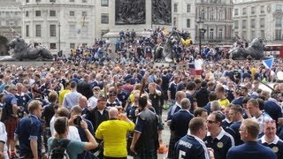 Walking amongst the Scottish Tartan Army football fans in Trafalgar Square, London 14th August 2013
