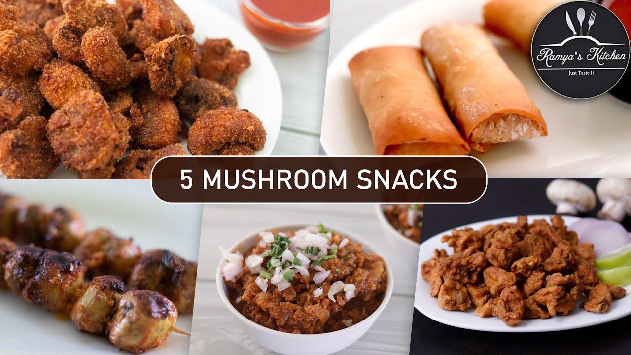 5 Mushroom snacks recipes in tamil | 5 mushroom recipes in tamil | Evening snacks | Tea time snacks