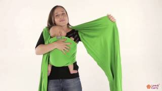 Love & Carrry Stretchy Wrap. Front Wrap Cross Carry instructions