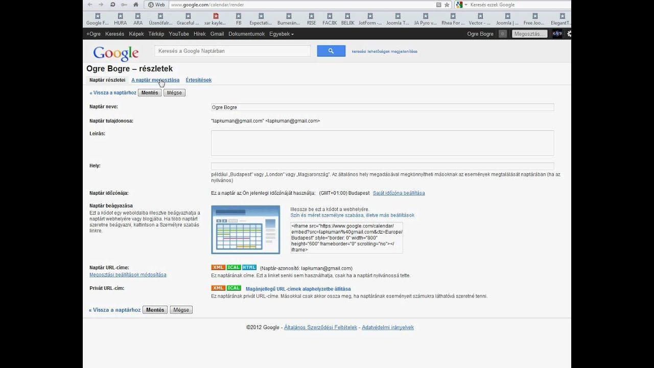 gmail naptár Gmail naptár megosztása   YouTube gmail naptár