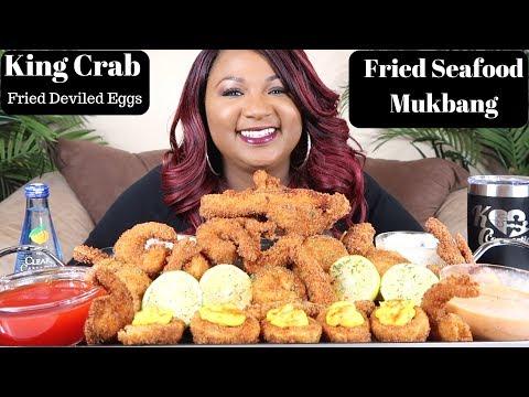 FRIED SEAFOOD MUKBANG  ( DEEP FRIED KING CRAB ) Seafood Boil