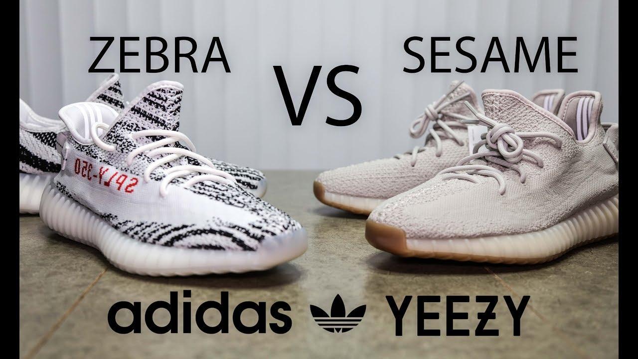d43add1e8d1 Yeezy 350 Boost Zebra VS Sesame Colorway - YouTube