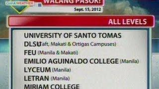 BT: Mga eskwelahang walang pasok ngayong araw (Sept. 15, 2012)