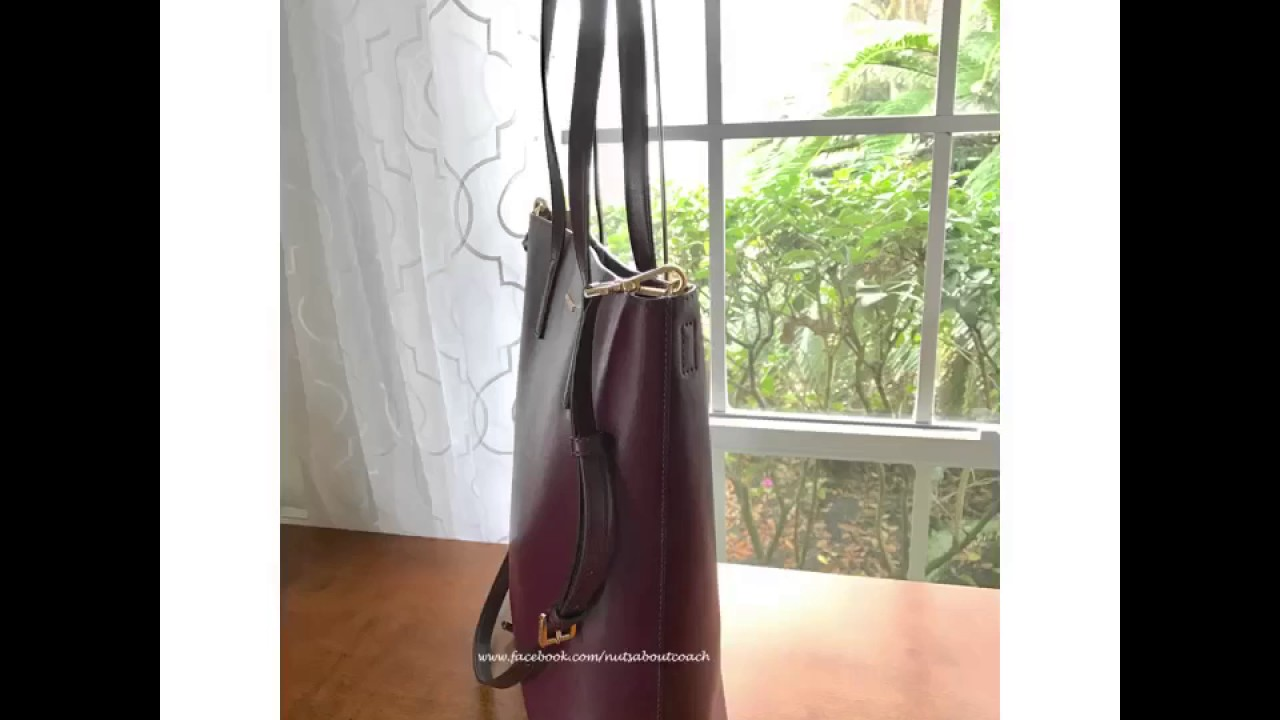 da44bcdf2998 Michael Kors Emry Large Leather NORTH SOUTH Tote Bag -PLUM - YouTube
