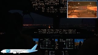 TUIfly Boeing 787 Dreamliner COCKPIT VIEW from Palma to Amsterdam, NIGHT APPROACH at Schiphol