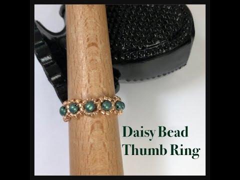 Daisy Bead Thumb Ring