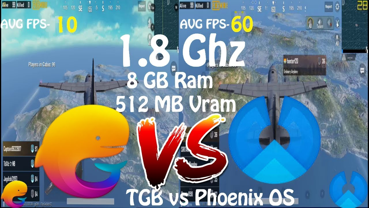 Tencent Gaming Buddy Vs Phoenix OS PUBG Mobile 1 8 Ghz CPU