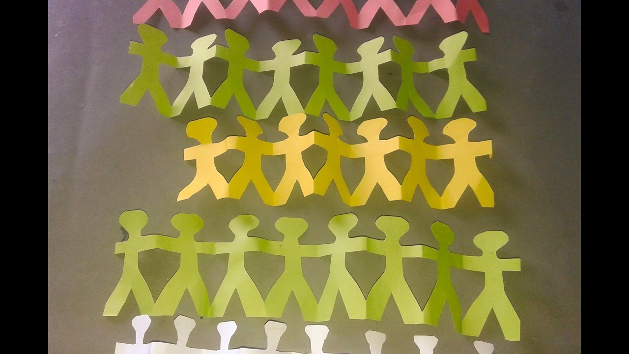 How To Make A Paper Chain Person Paper Doll Chain Template