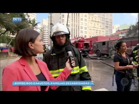 Equipe da RecordTV acompanha trabalho dos bombeiros em prédio que desabou