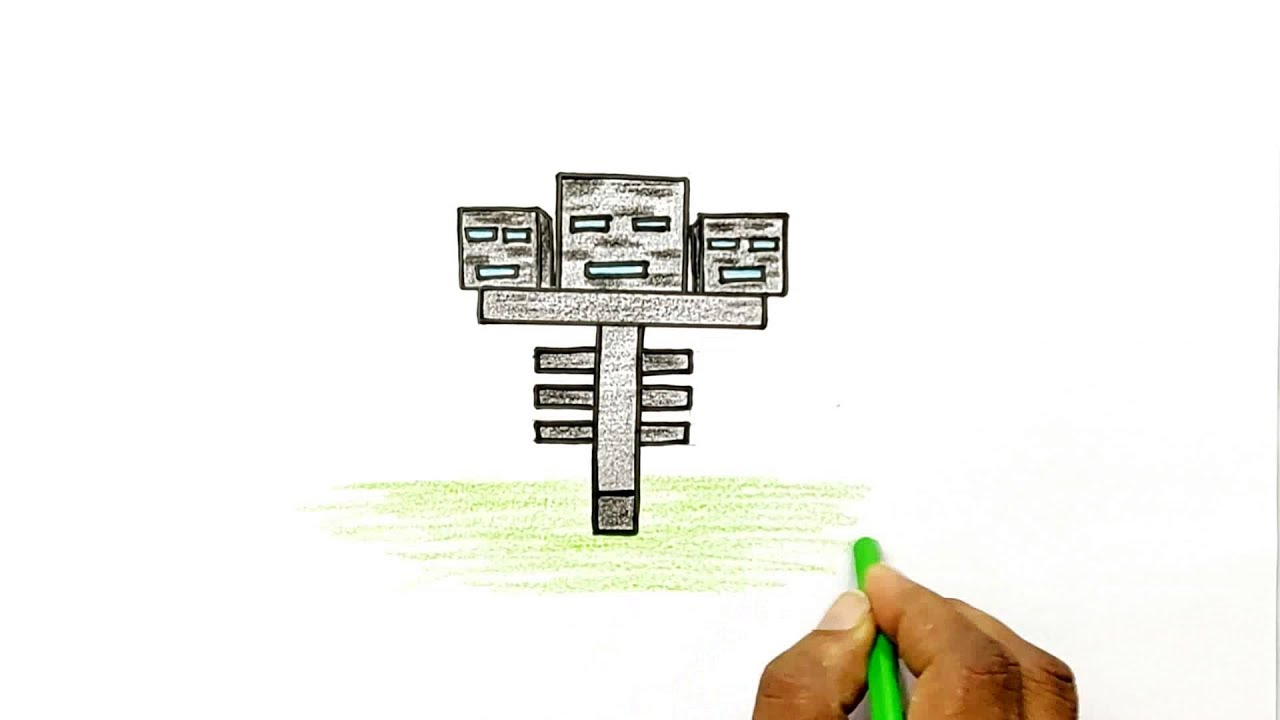 How To Draw The Wither From Minecraft Youtube