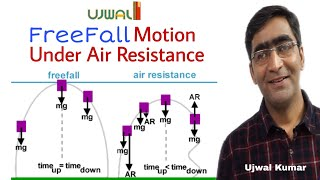 Free falling motion with air resistance || motion under gravity in case of air resistance