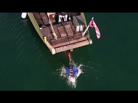 Escape artist is locked up and walks the plank on pirate ship - Underwater Escape