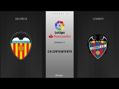 Calentamiento Valencia vs Levante
