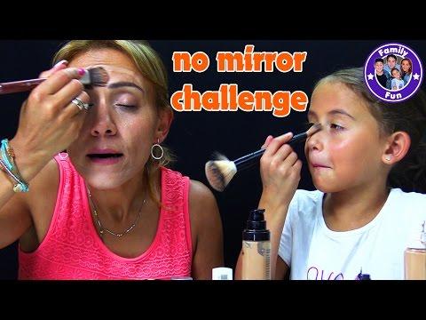 NO MIRROR MAKE UP CHALLENGE   ohne Spiegel schminken   FAMILY FUN