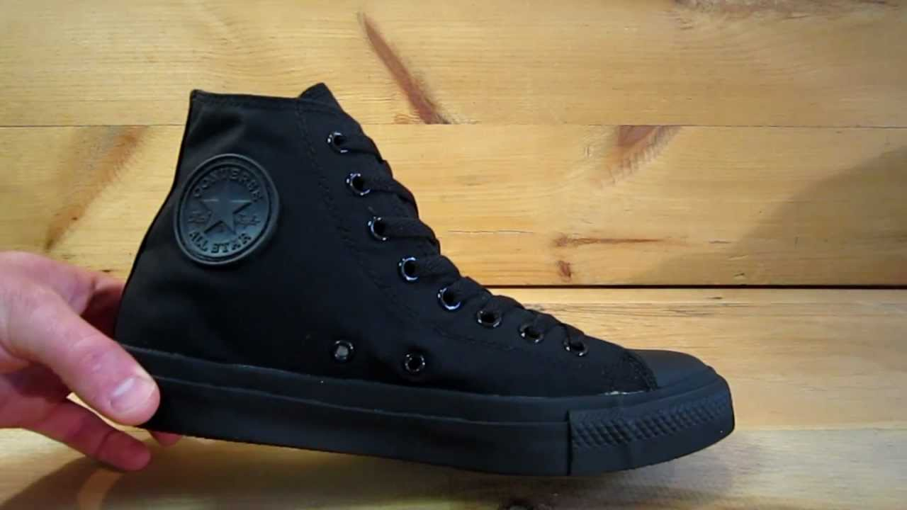 fe93ed3f5ac Converse All Stars Chuck Taylor High Black Monochrome - YouTube