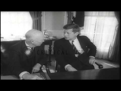 US President Dwight D. Eisenhower and John F. Kennedy arrive for a cordial meetin...HD Stock Footage